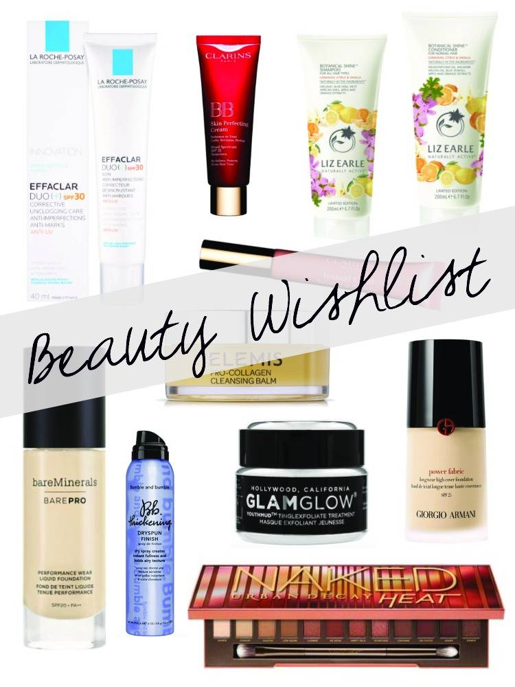 Beauty, wishlist, makeup, skincare, rosacea, hair care, la roche posay, effaclar duo, Clarins, BB Cream, lip perfector, Elemis, Love the Sales, Liz Earle, Shampoo, conditioner, cleanser, Urban Decay Naked heat, Glam glow, face mask, Bumble and bumble, wish list,