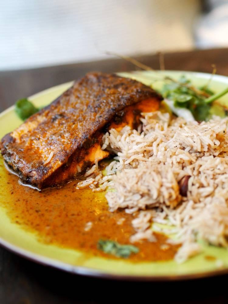 Turtle Bay, Caribbean food, spicy food, rum, reggae, jerk, Swansea, south wales, eating out, date night, chocolate brownie, salmon,