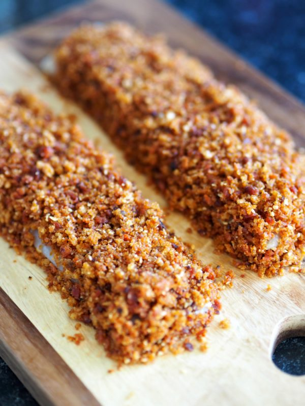 Crispy Chorizo cod, fish, Pollock, white fish, meal planning, easy cooking, simple food, everyday food, gluten free, recipe, dinner, savoury, food inspiration, healthy recipes, cheap food, quick and easy, 10 ingredients or less, entertaining, healthy eating, dinner ideas, summer food,